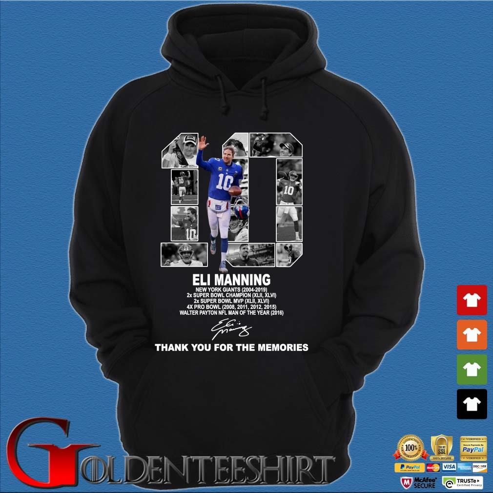 10 Eli Manning New York Giants Thank You For The Memories Shirt Hoodie đen
