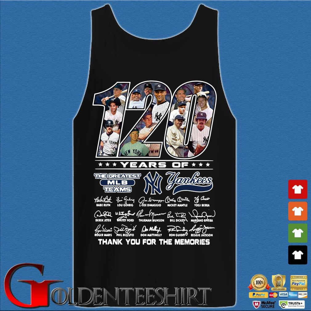 120 years of the greatest MLB teams New York Yankees thank you for the memories signatures s Tank top den