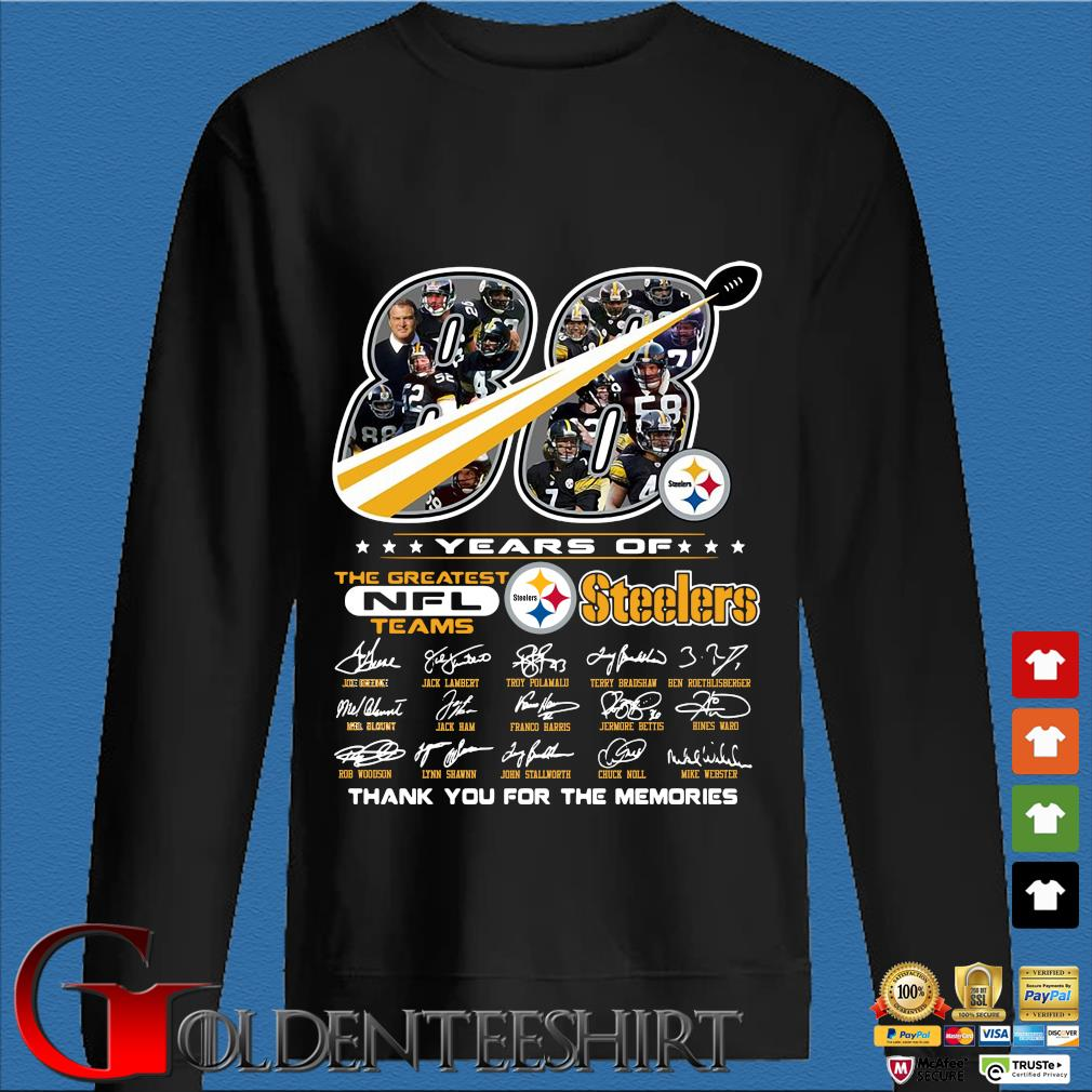 88 years of Pittsburgh Steelers the greatest NFl teams thank you for the memories signatures s Den Sweater