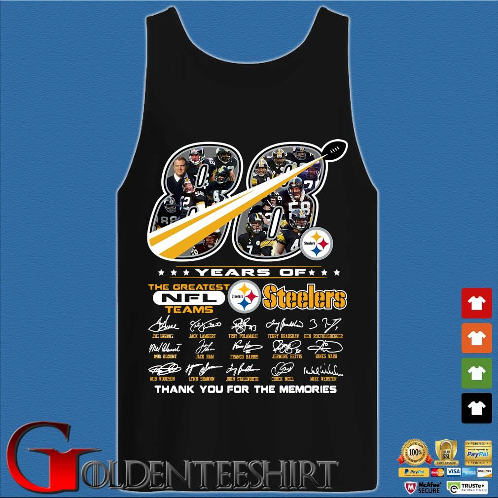 88 years of Pittsburgh Steelers the greatest NFl teams thank you for the memories signatures s Tank top den