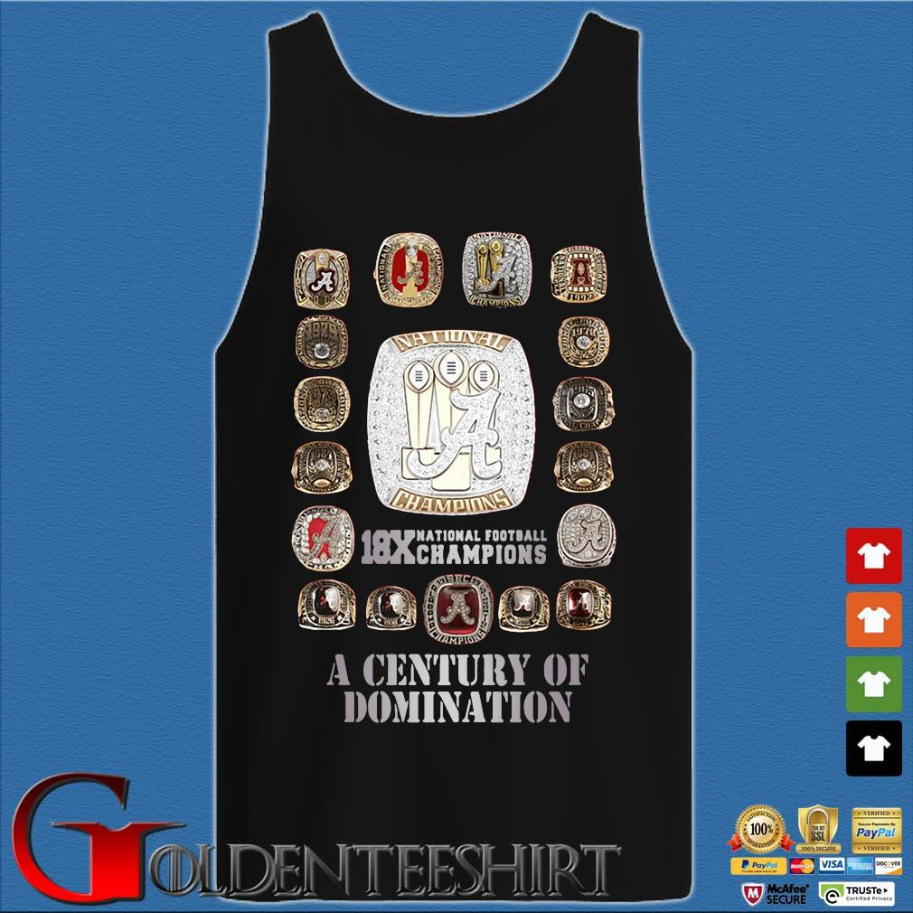 Alabama Crimson Tide 18x national football Champions a century of domination s Tank top den