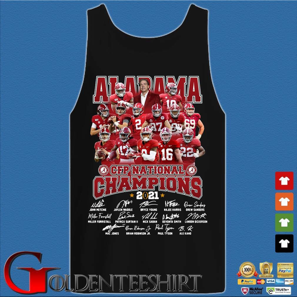 Alabama Crimson Tide CFP national Champions 2021 signatures s Tank top den