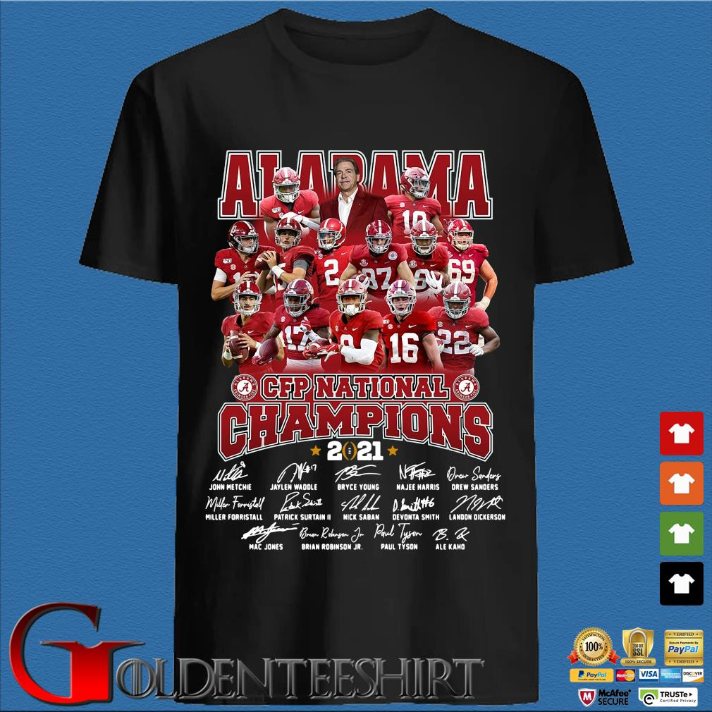 Alabama Crimson Tide CFP national Champions 2021 signatures shirt