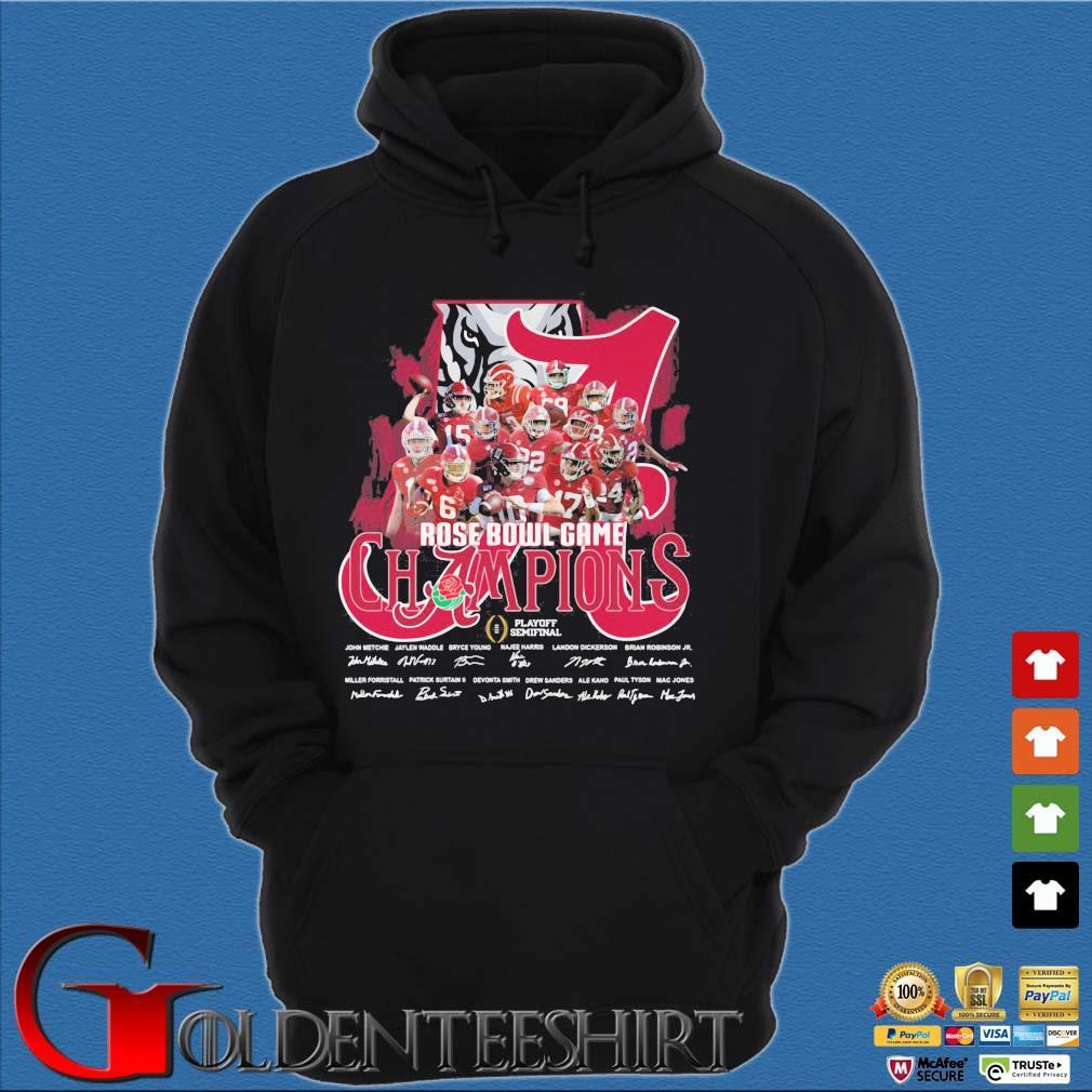 Alabama Crimson Tide Rose Bowl Game Champions signatures Shirt Hoodie đen