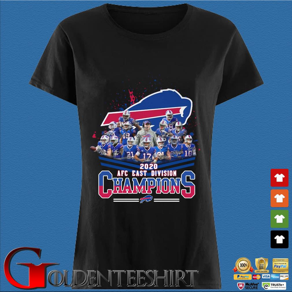 Buffalo Bills 2020 AFC east division Champions signatures Shirt Den Ladies