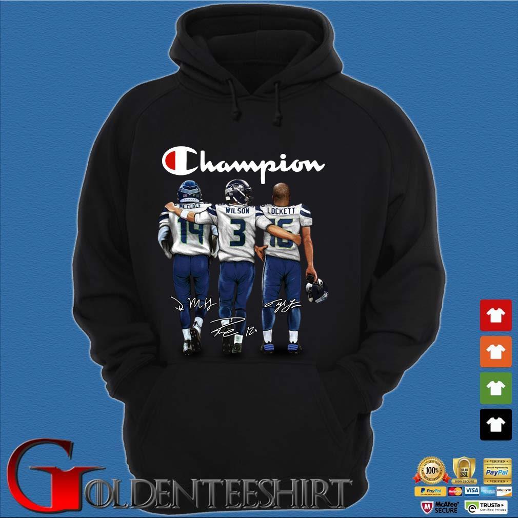Champion Retcalf Wilson Lockett signatures Shirt Hoodie đen