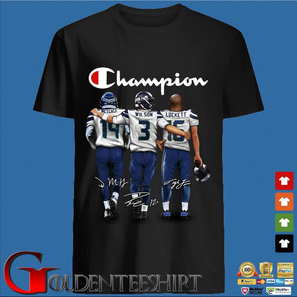 Champion Retcalf Wilson Lockett signatures Shirt