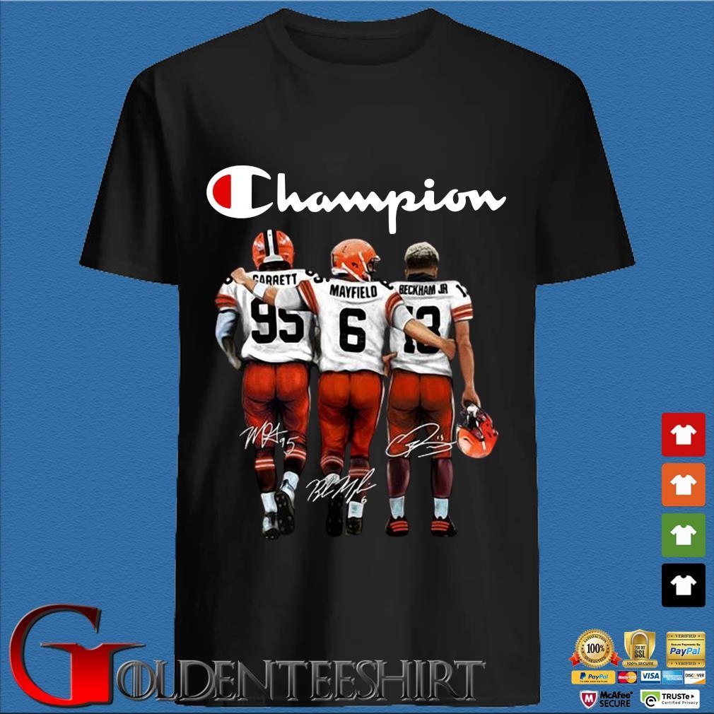 Cleveland Browns Champion Carrett Mayfield Beckham JR signatures shirt