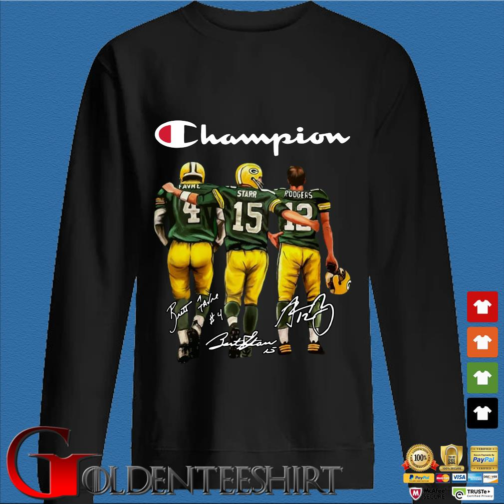 Green Bay Packers Champion Favre Starr Rodgers signatures s Den Sweater