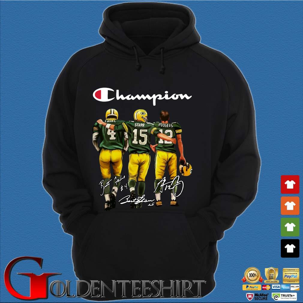 Green Bay Packers Champion Favre Starr Rodgers signatures s Hoodie đen