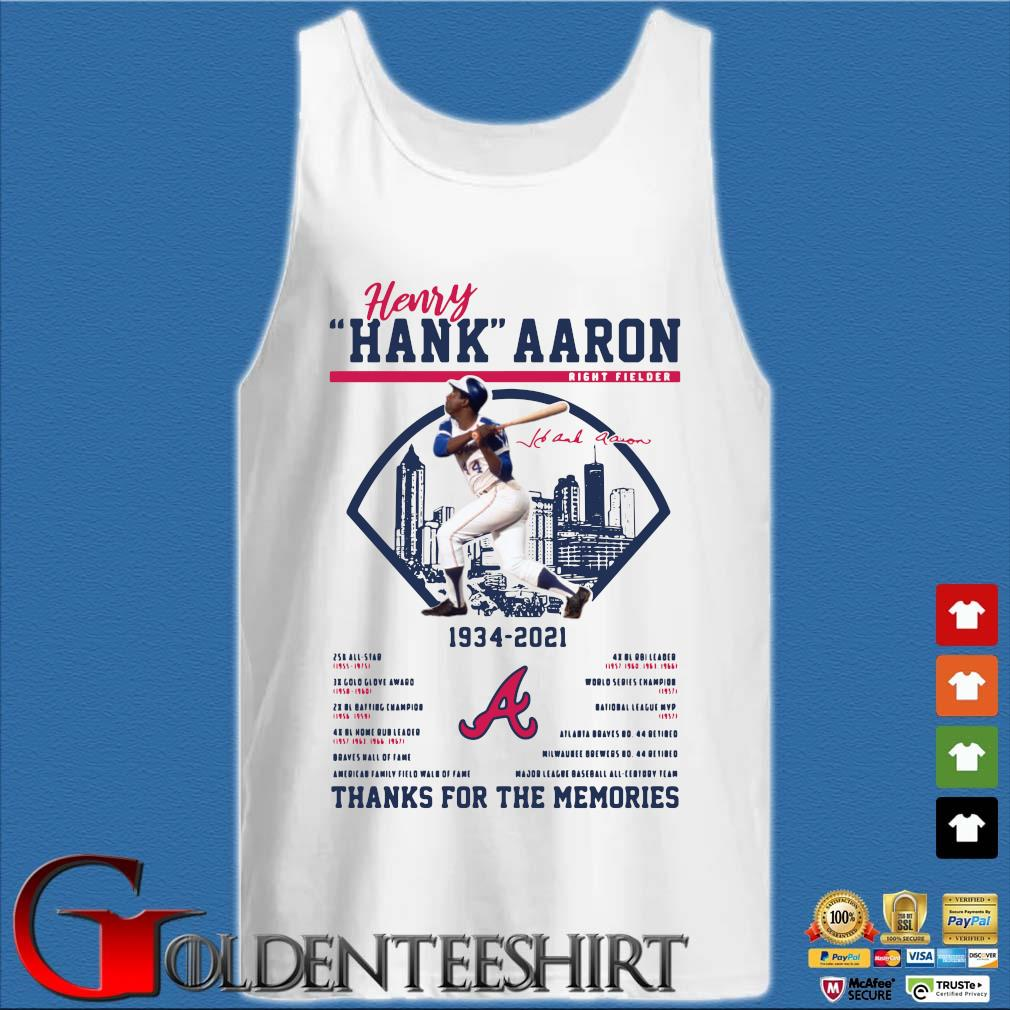 Henry Hank Aaron 1934-2021 thanks you for the memories signature s Tank top trắng