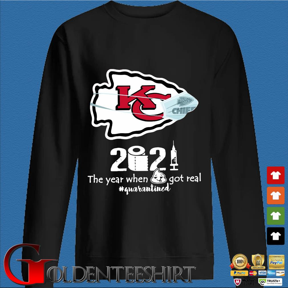 Kansas City Chiefs face mask 2021 toilet paper the year when got real #quanrantined s Den Sweater
