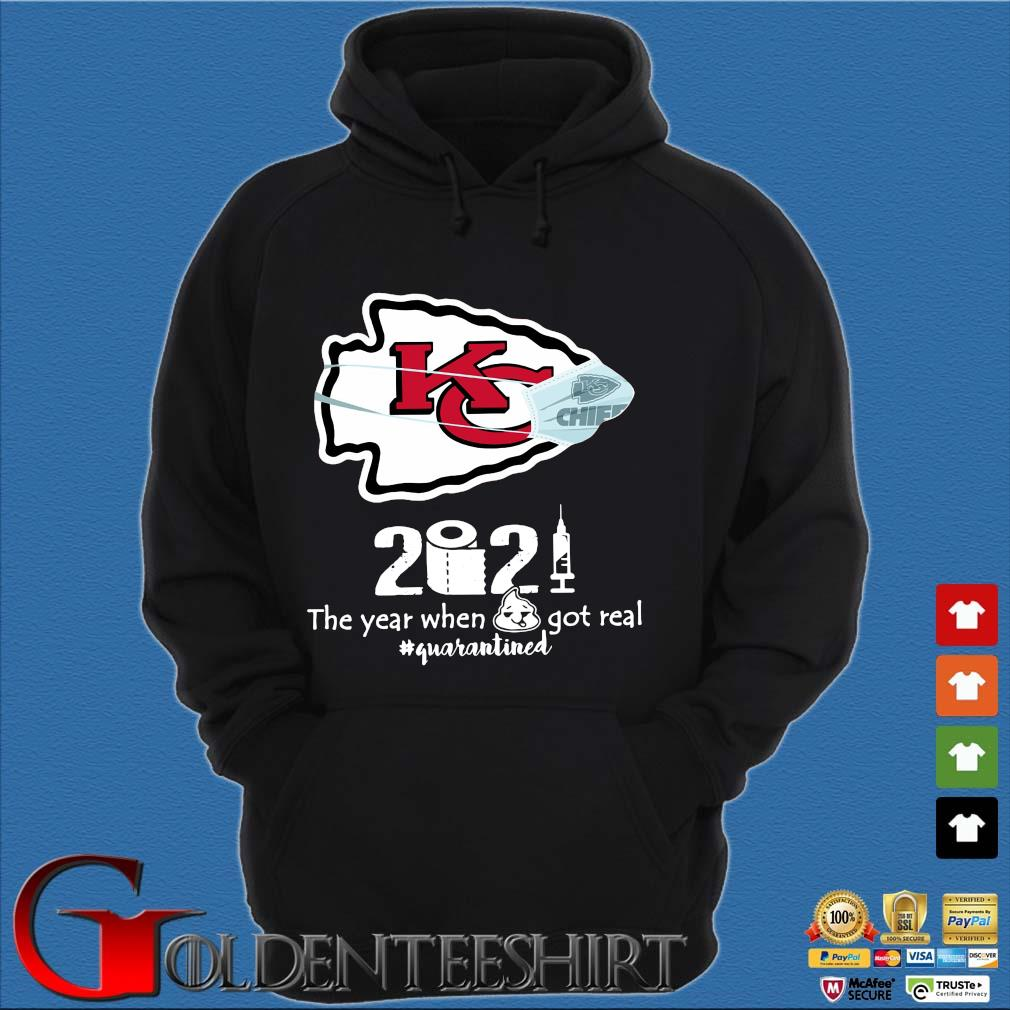 Kansas City Chiefs face mask 2021 toilet paper the year when got real #quanrantined s Hoodie đen