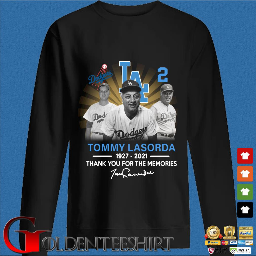 Los Angeles Dodgers Tommy Lasorda 1927-2021 thank you for the memories signature s Den Sweater