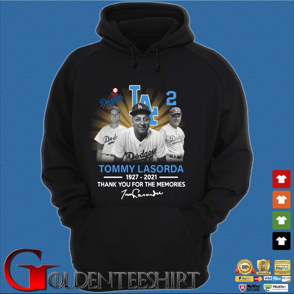 Los Angeles Dodgers Tommy Lasorda 1927-2021 thank you for the memories signature s Hoodie đen