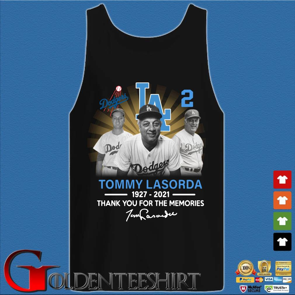 Los Angeles Dodgers Tommy Lasorda 1927-2021 thank you for the memories signature s Tank top den