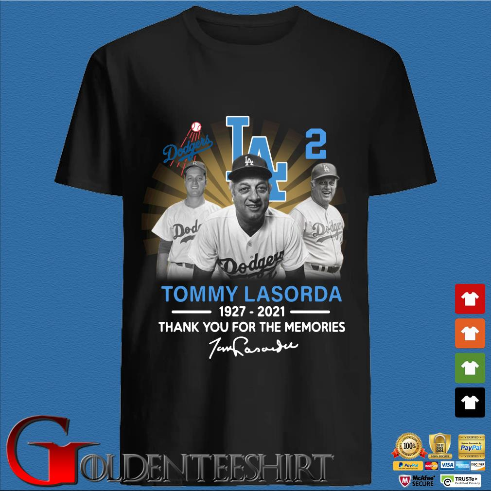 Los Angeles Dodgers Tommy Lasorda 1927-2021 thank you for the memories signature shirt