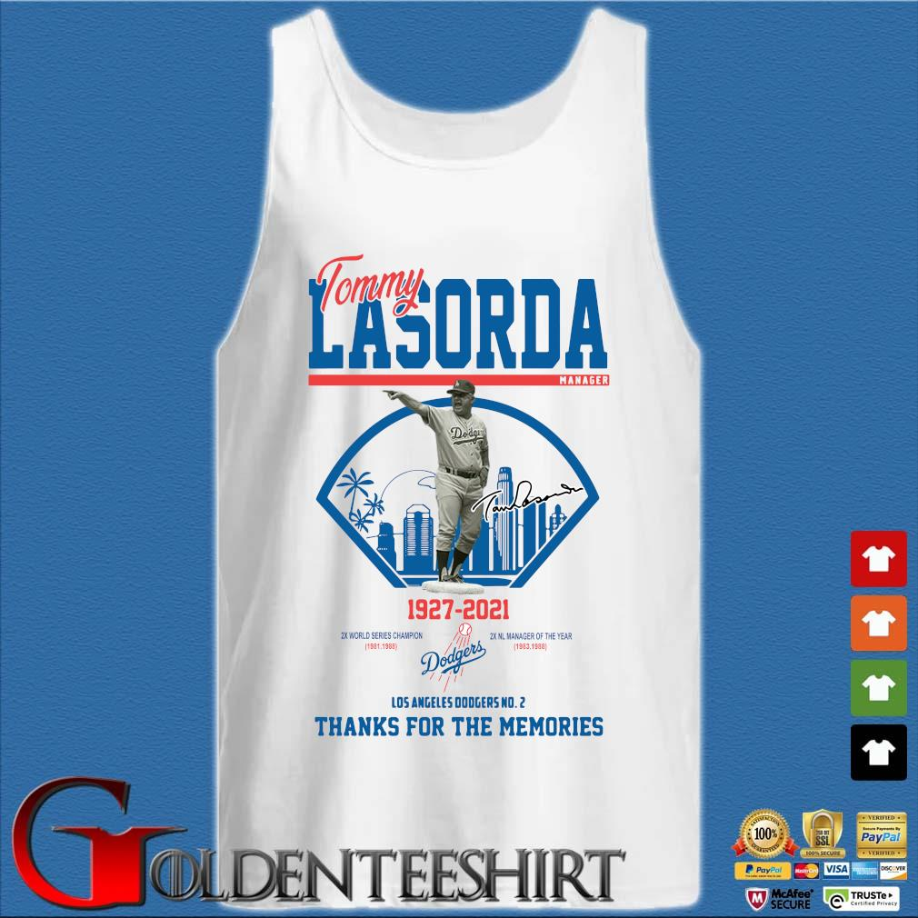 Los Angeles Dodgers Tommy Lasorda manager 1927-2021 thank you for the memories signature shirt] Tank top trắng