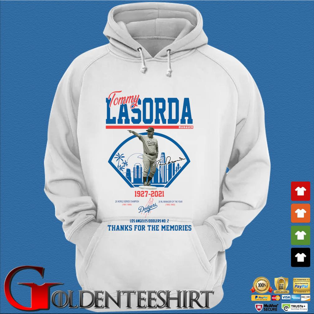 Los Angeles Dodgers Tommy Lasorda manager 1927-2021 thank you for the memories signature shirt] Trang Hoodie