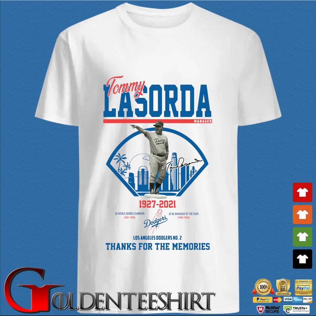 Los Angeles Dodgers Tommy Lasorda manager 1927-2021 thank you for the memories signature shirt]
