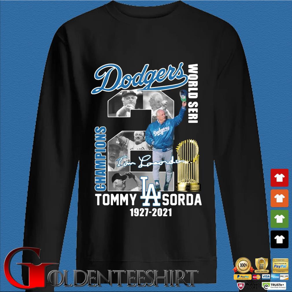 Los Angeles Dodgers World Seri Champions Tommy Sorda 1927-2021 signature s Den Sweater