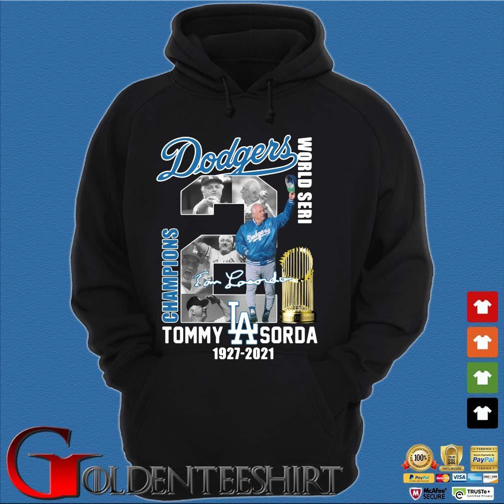 Los Angeles Dodgers World Seri Champions Tommy Sorda 1927-2021 signature s Hoodie đen