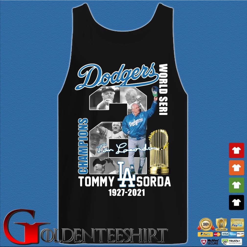 Los Angeles Dodgers World Seri Champions Tommy Sorda 1927-2021 signature s Tank top den