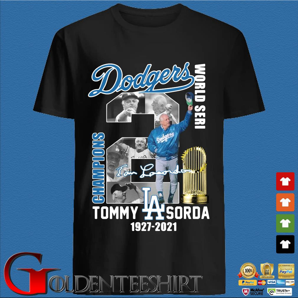 Los Angeles Dodgers World Seri Champions Tommy Sorda 1927-2021 signature shirt