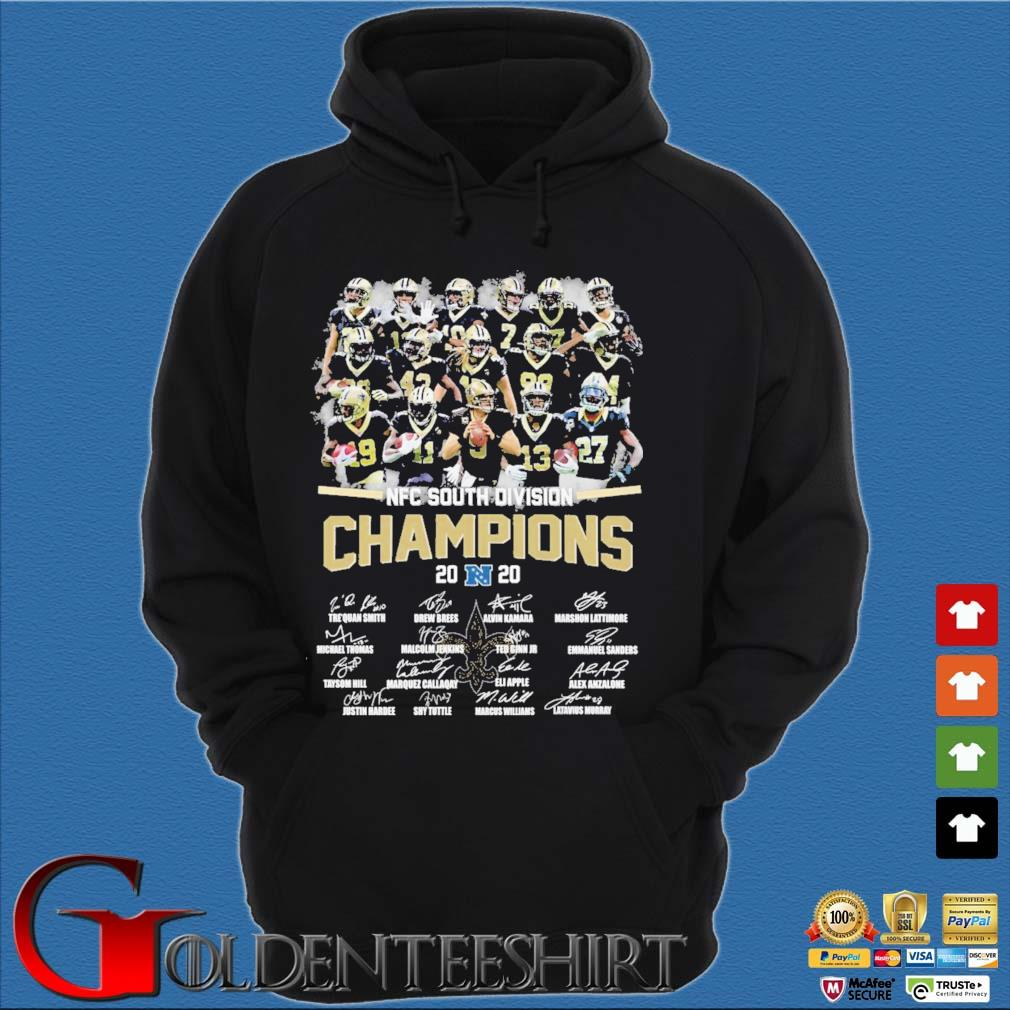 New Orleans Saints nfc south division champion 2020 signatures s Hoodie đen