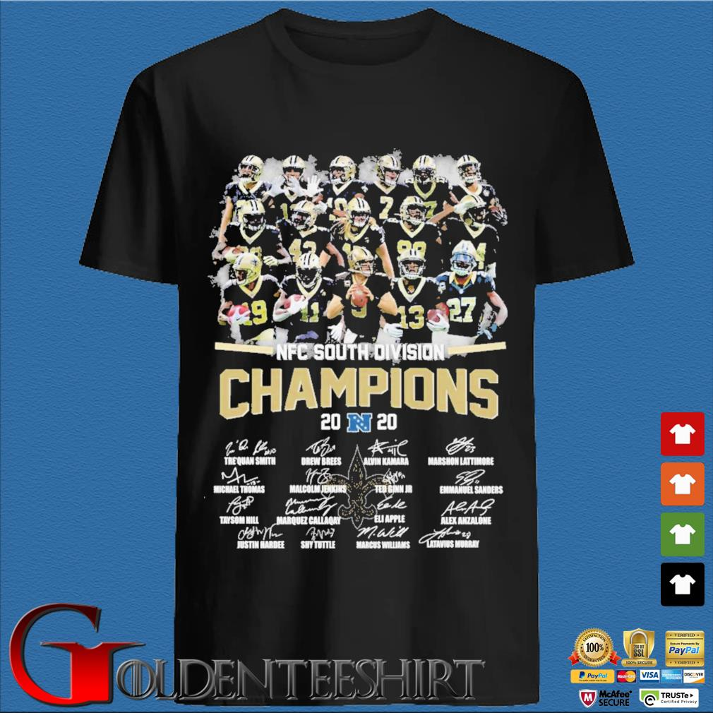New Orleans Saints nfc south division champion 2020 signatures shirt