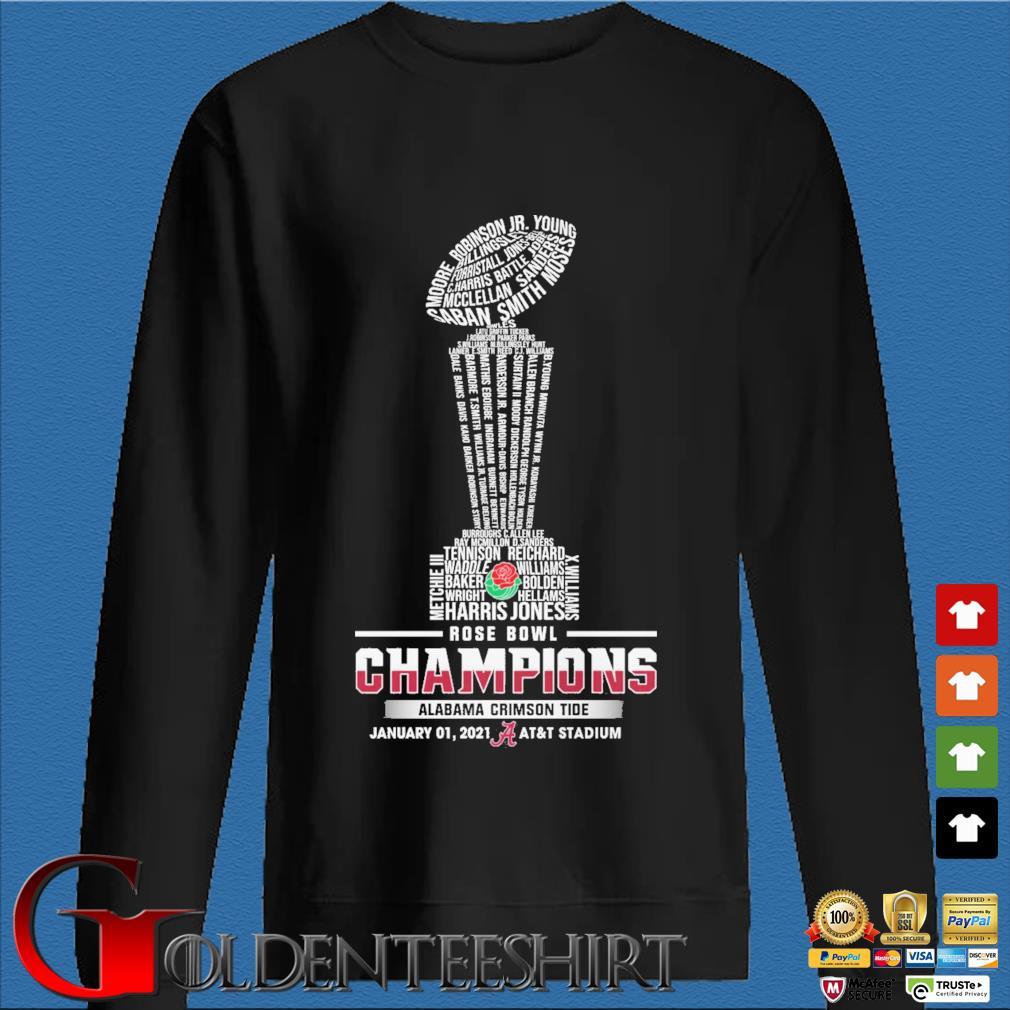 Official Alabama Crimson Tide Rose Bowl champions january 01 2021 at&t stadium s Den Sweater