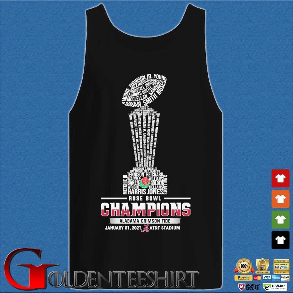 Official Alabama Crimson Tide Rose Bowl champions january 01 2021 at&t stadium s Tank top den