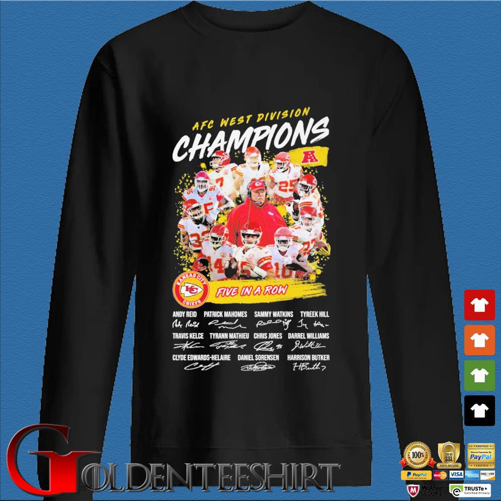 Official Kansas City Chiefs AFC afc west division champion 2020 five in a row signatures t-s Den Sweater