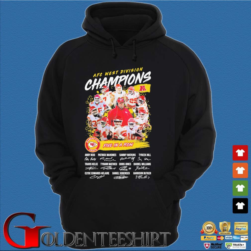 Official Kansas City Chiefs AFC afc west division champion 2020 five in a row signatures t-s Hoodie đen