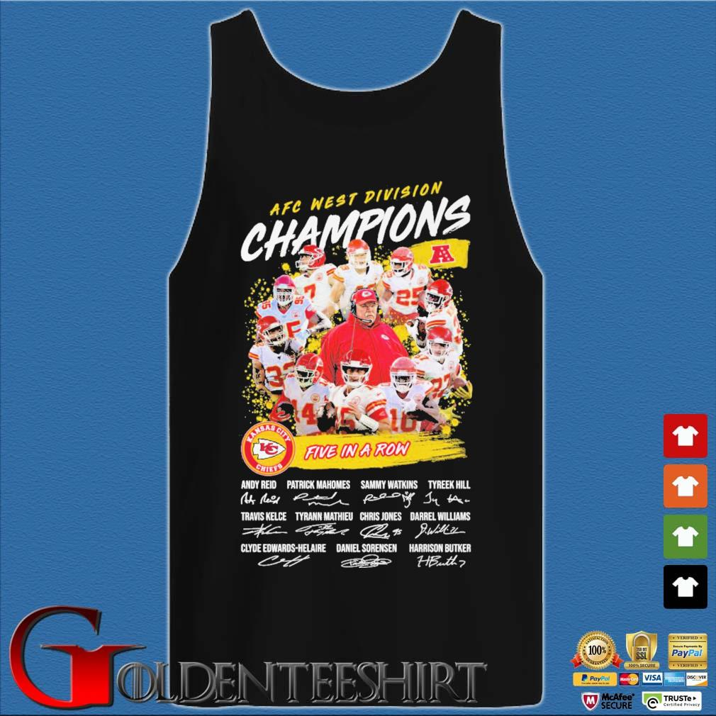 Official Kansas City Chiefs AFC afc west division champion 2020 five in a row signatures t-s Tank top den