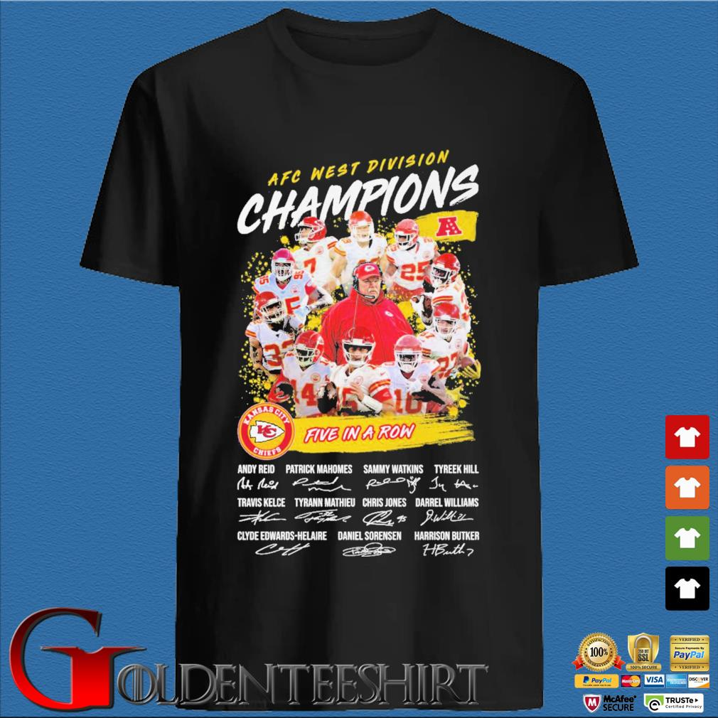 Official Kansas City Chiefs AFC afc west division champion 2020 five in a row signatures t-shirt