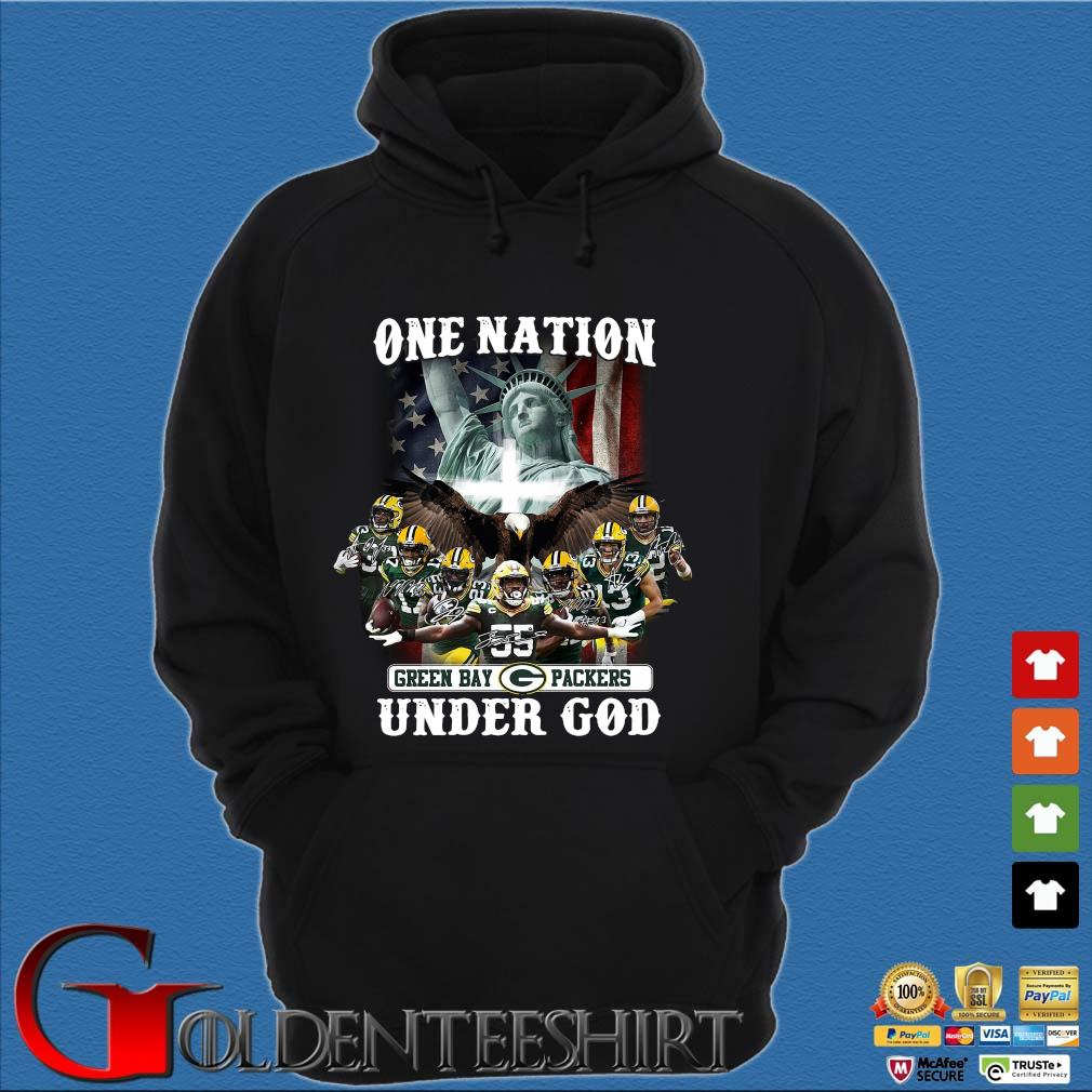 One nation Green Bay Packers under god signatures s Hoodie đen