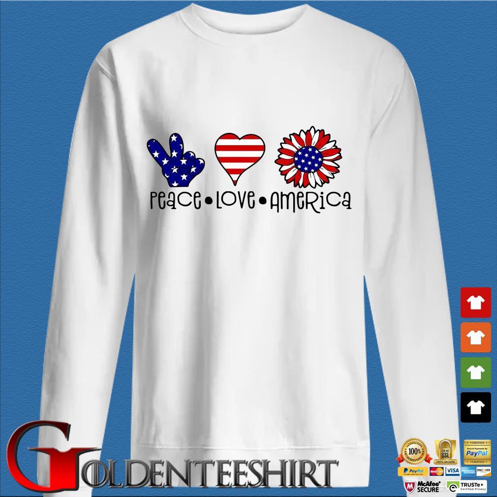 Peace Love Sunflower America s trang Sweater