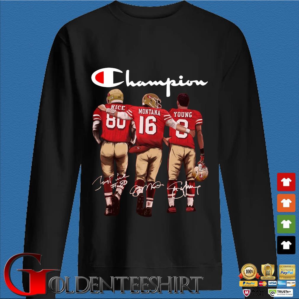 San Francisco 49ers Champion Rice Montana Young signatures s Den Sweater