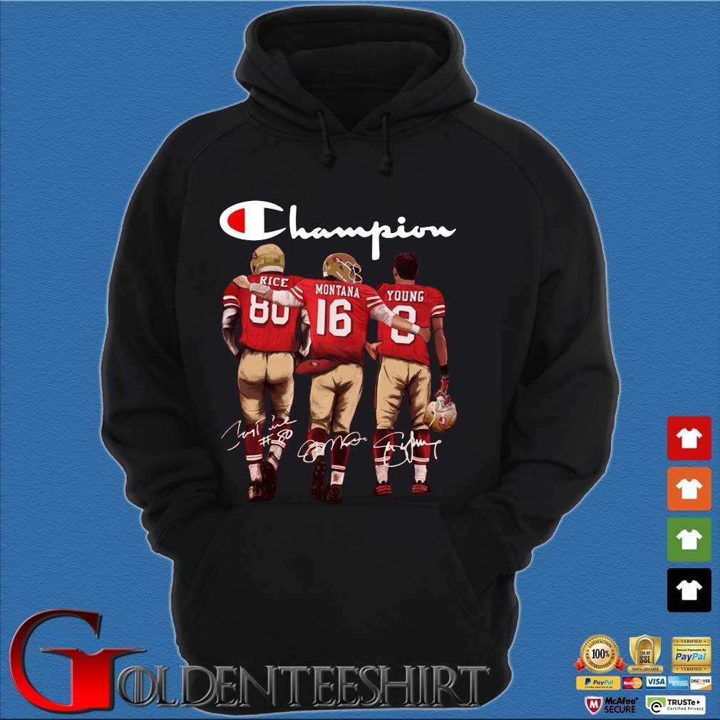 San Francisco 49ers Champion Rice Montana Young signatures s Hoodie đen