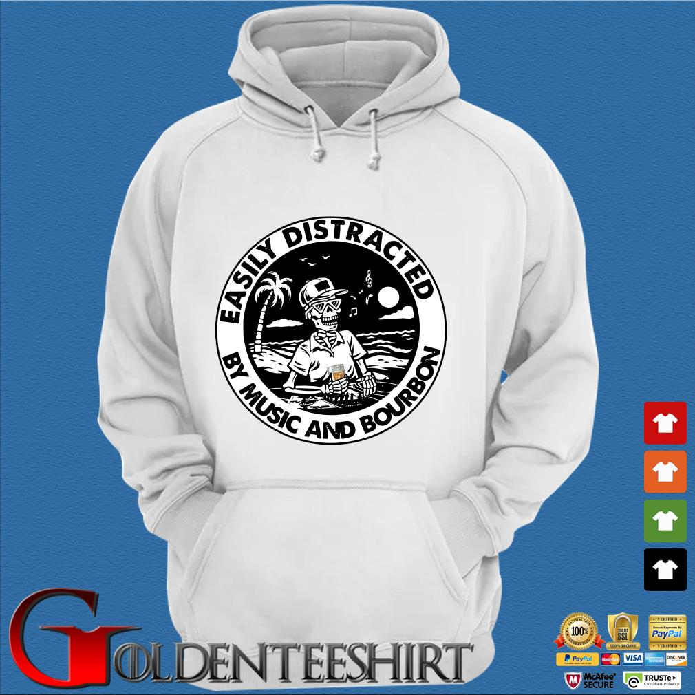 Skeleton easily distracted by music and bourbon s Trang Hoodie