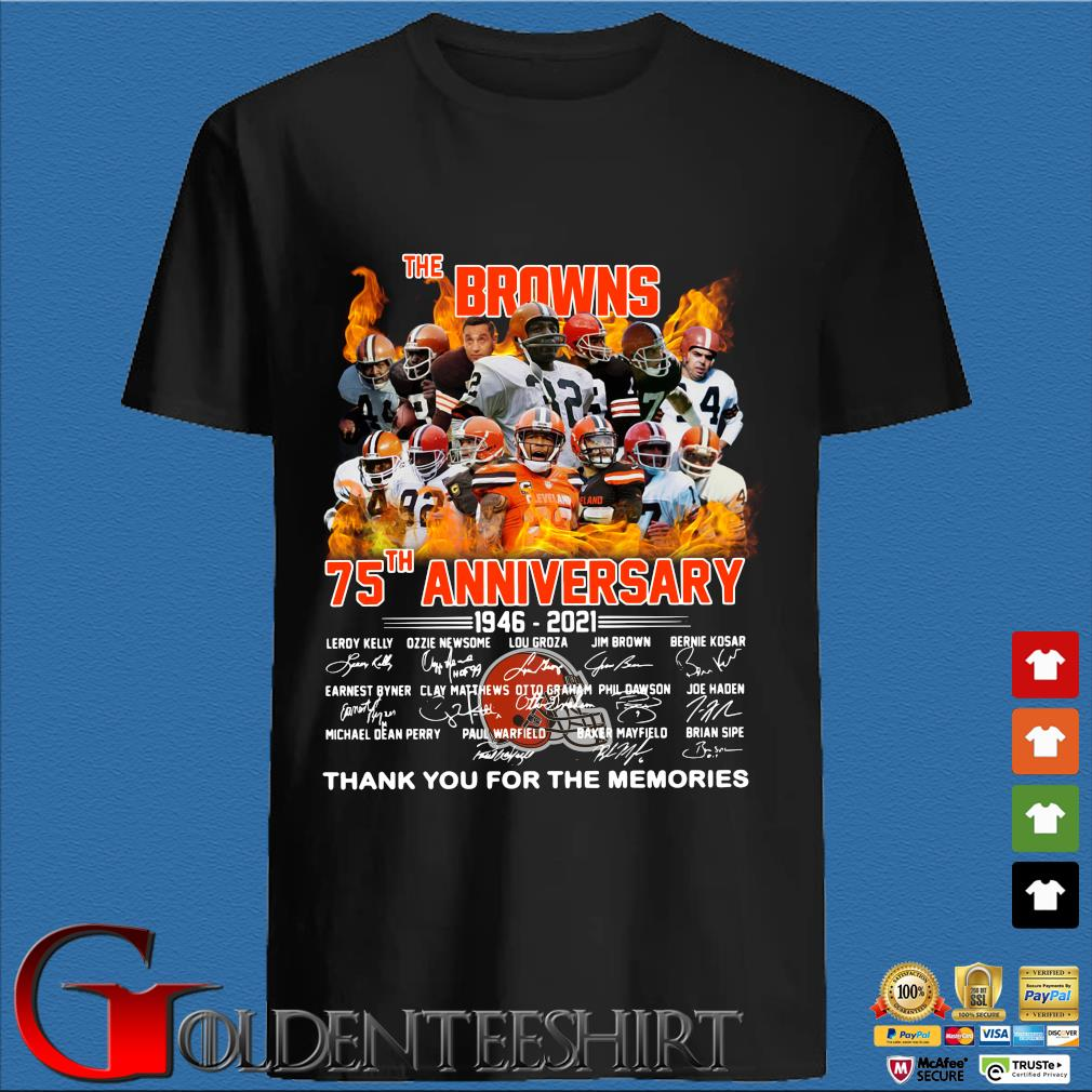 The Browns 75th anniversary thank you for the memories signatures shirt