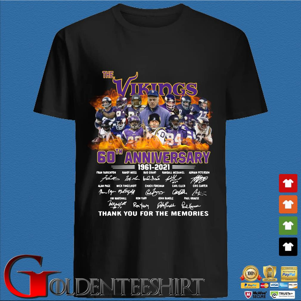 The Vikings 60th anniversary 1961 2021 thank you for the memories signatures shirt
