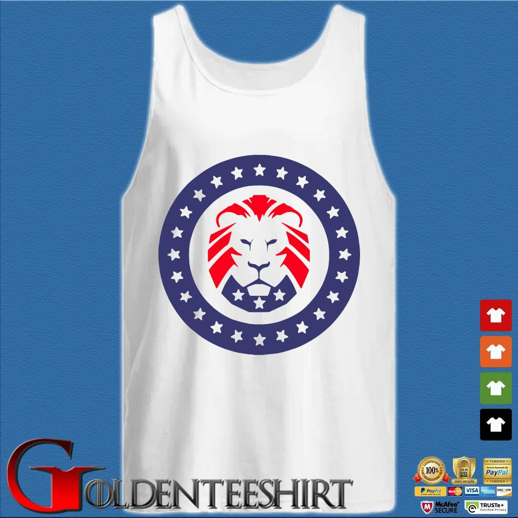 Trump 2020 MAGA Lion Flag American Shirt Tank top trắng